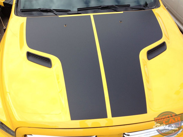 Front of Yellow 2017 Ram Rebel Hood Decals REBEL HEMI HOOD 2009-2018