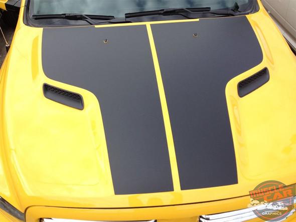 Front of Yellow 2018 Ram Rebel Stripes REBEL HEMI HOOD 2009-2018