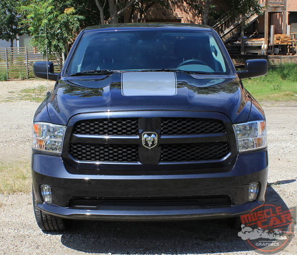 Front View of Dodge Ram 1500 Hood Stripes RAM RAGE HOOD 2009-2017 2018