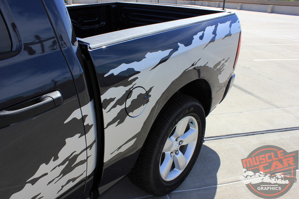 Side View of Vinyl Decals for Dodge Ram Truck Bed RAGE RAM 2009-2017 2018
