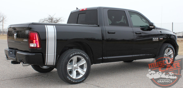 Profile View of Black 2016 Dodge Ram Vinyl Graphics RUMBLE KIT 2009-2019