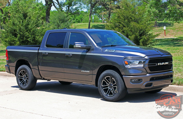 Profile of Grey 2019 Dodge Ram Side Decals RAM EDGE 2019 2020 2021