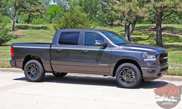 Profile of Grey 2019 Ram 1500 Side Stripes RAM EDGE Side Decals Kit 2019 2020 2021