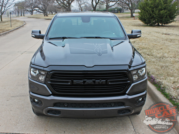 Front View of 2020 Ram 1500 Rebel REB HOOD Graphics 2019-2021
