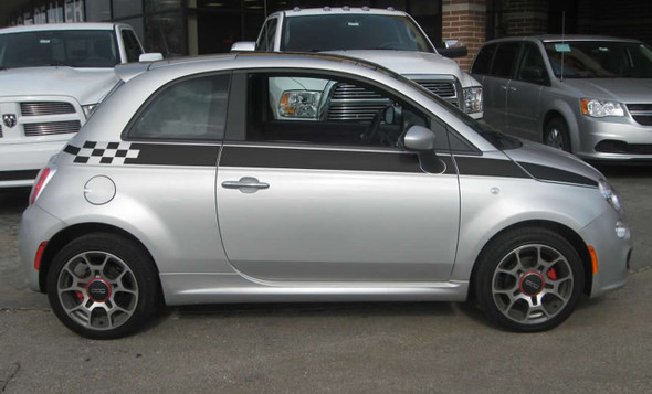 Profile View of Fiat 500 Custom Side Stripe Graphics SE5 CHECK 2012-2019