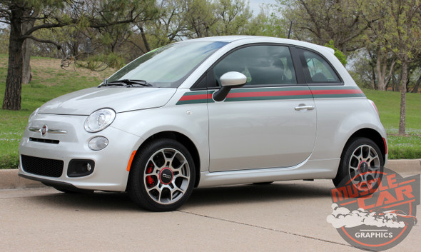 Profile View of Fiat 500 GUCCI Stripe Graphics 2012 2013 2014 2015 2016 2017 2018 2019