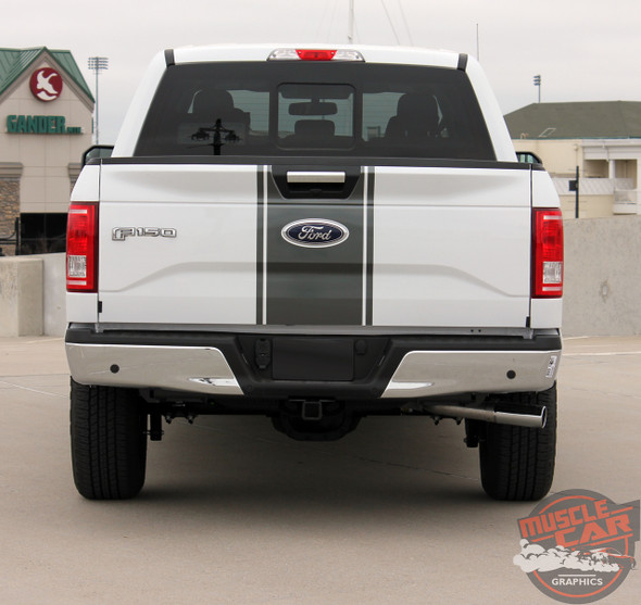 Rear View of 2017 F150 Center Decals 150 CENTER STRIPE 2015-2017