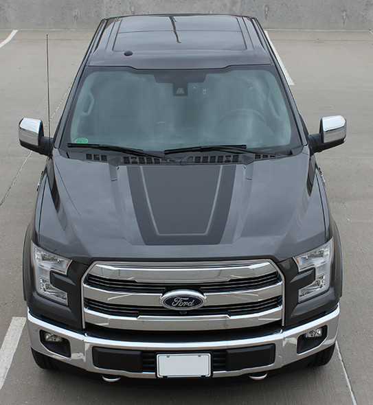 Front View of 2017 F 150 hood side graphic kits QUAKE digital print 2009-2019 2020