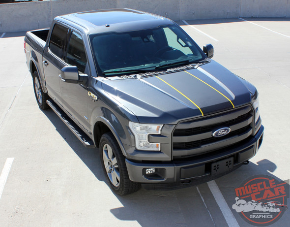Angle view of 2017 Ford F150 Center Decals BORDERLINE 2015 2016 2017