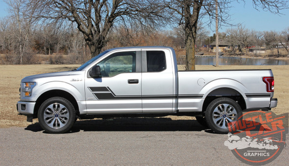 View of 2018 Ford F150 Side Decals and Stripes ELIMINATOR 2015-2020