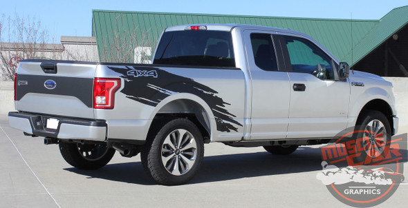 Passenger side rear view of 2017 F150 Side Stripes TORN 2015-2018 2019 2020