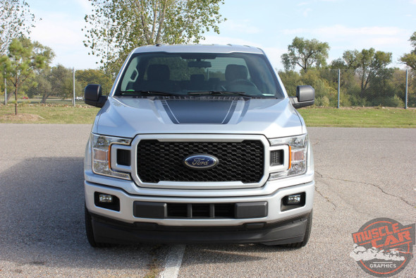 Front  View of 2017 F150 Hood Decal SPEEDWAY HOOD 2015-2019 2020