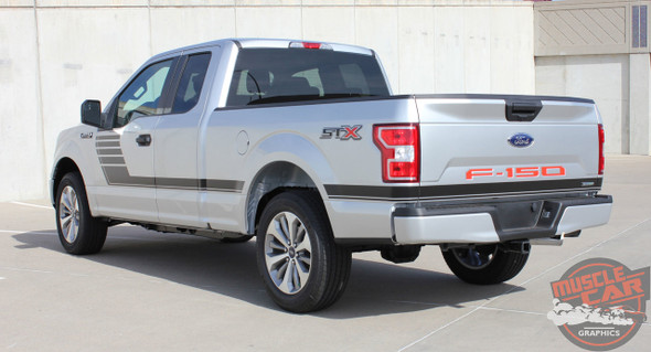 Rear angle view of 2018 F150 Side Stripes SPEEDWAY 2015-2019 2020