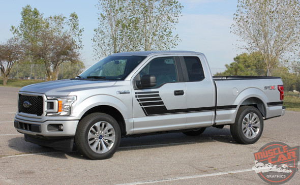 Side angle view of 2018 Ford F150 Pinstripes SPEEDWAY 2015-2019 2020