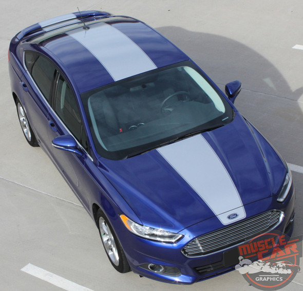 Top view of 2018 Ford Fusion Center Hood Wide Stripes 2013-2018 OVERVIEW RALLY