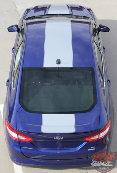 Top view of 2014 Ford Fusion Center Wide Stripes OVERVIEW RALLY 2013-2018