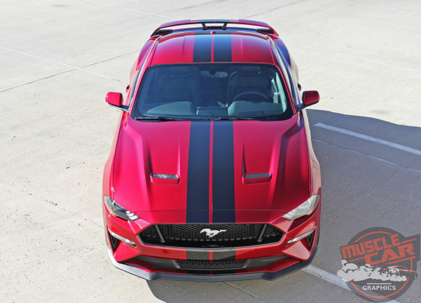 Front View of 2018 Ford Mustang Rally Stripes STAGE RALLY 2018-2019