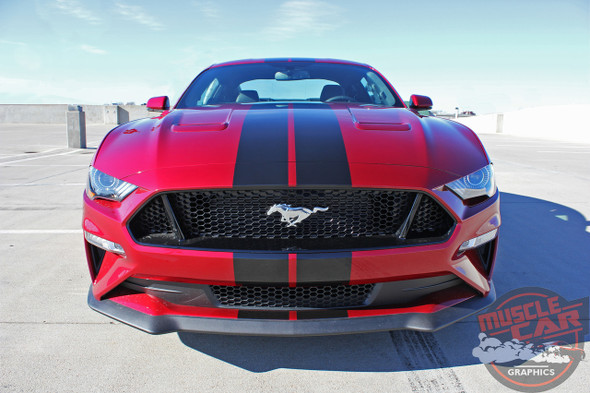 Front Hood View of 2019 Ford Mustang Rally Stripes STAGE RALLY 2018-2019