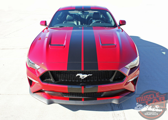 Front Hood View of 2019 Ford Mustang Lemans Stripes STAGE RALLY 2018-2019