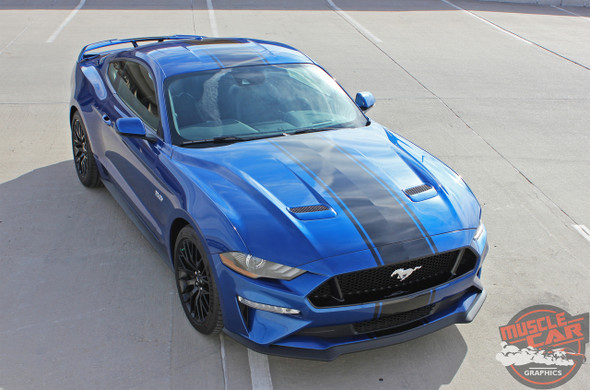 HYPER RALLY 2019 2018 Ford Mustang Center Matte Black Stripes 3M 1080 Series Wrap Film