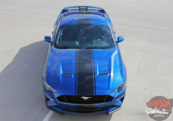 2019 2018 Ford Mustang Convertible Racing Stripe Decals HYPER RALLY
