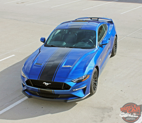 2018 Ford Mustang Racing Stripe Wide Center Decals HYPER RALLY