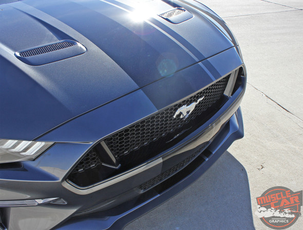 Front view of 2018 Ford Mustang Racing Center Stripe EURO RALLY