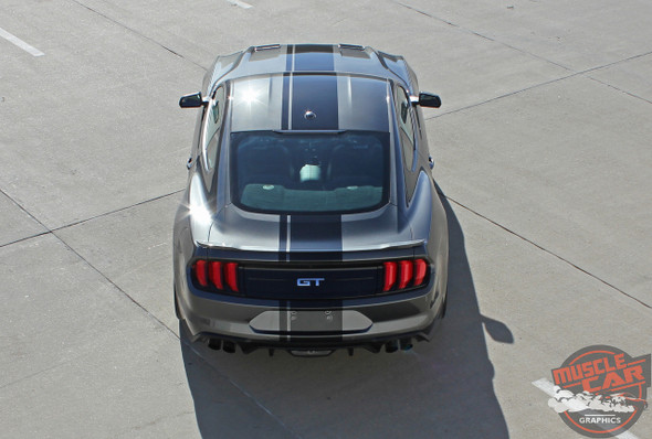 Rear top view of EURO RALLY | 2018 Ford Mustang Center Matte Black Stripes