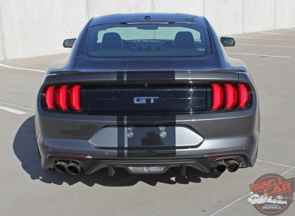 Rear view of EURO RALLY | 2018 Ford Mustang Center Vinyl Graphic Stripe