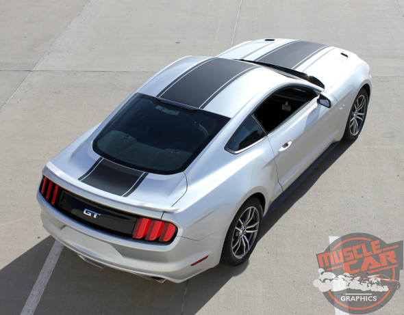 Rear of Silver Ford Mustang Wide Center Decals MEDIAN 2015 2016 2017