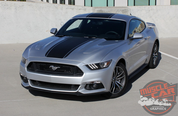 Front of Silver Ford Mustang Wide Center Vinyl Graphics MEDIAN 2015 2016 2017