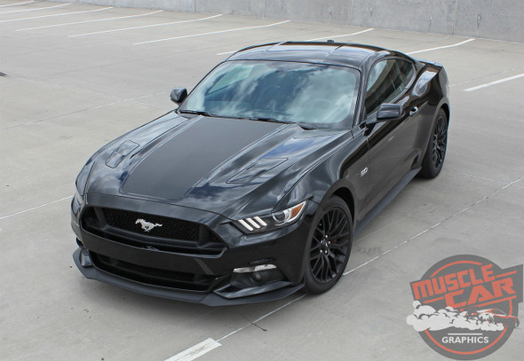 Front Side view 2015 Ford Mustang Wide Hood Decals MEGA HOOD 2016 2017