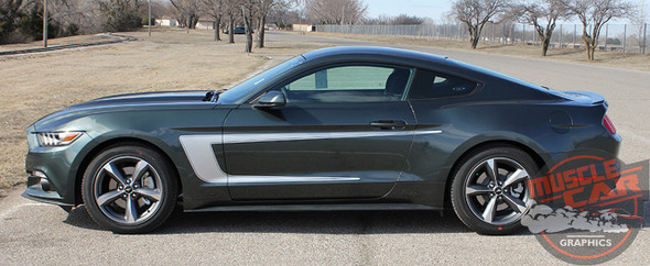 Profile View of 2015 Mustang with Racing Stripes REVERSE 2015 2016 2017