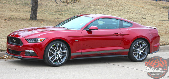 Profile view of red Ford Mustang Side Vinyl Graphics STALLION ROCKER 2016-2018 2019
