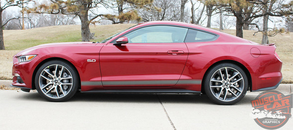 Profile view of red 2018 Mustang Side Vinyl Graphics STALLION ROCKER 1 2015-2019