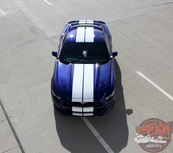 Top View of 2016 Ford Mustang Racing Stripes STALLION 2015 2016 2017