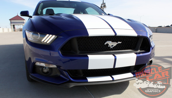 Front View of Center Racing Stripes for Mustang STALLION 2015 2016 2017