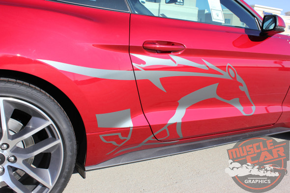 Passenger side Ford Mustang Side Horse Decals STEED 2015 2016 2017 2018