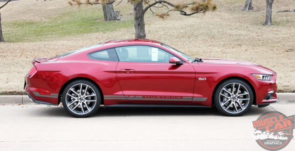 Profile view of Ford Mustang Door Decals HASTE 2015 2016 2017 2018