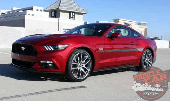 Side angle 2017 Ford Mustang Mid Body Stripe Decals LANCE 2015-2018