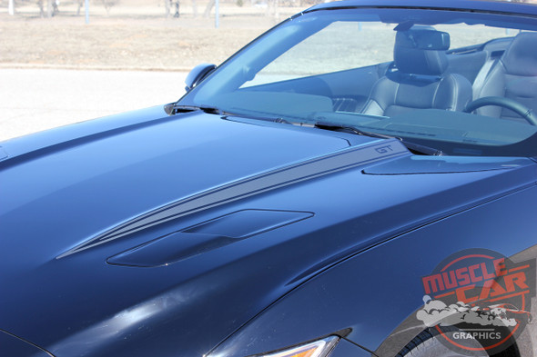 Front angle 2015 Ford Mustang Hood Decals 15 HOOD SPEARS 2016 2017