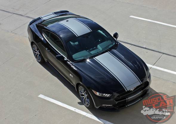 Top View of 2017 Ford Mustang Bumper to Bumper Center Stripe 2015-2017 CONTENDER