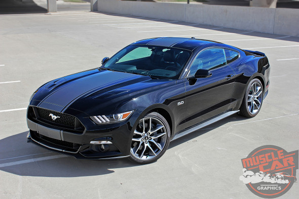 Side View of Center Wide Stripes for 2017 Ford Mustang CONTENDER 2015 2016 2017