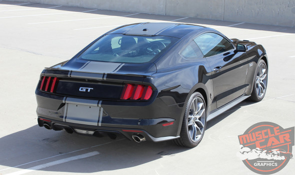 Rear View of Center Wide Stripes for 2017 Ford Mustang CONTENDER 2015 2016 2017