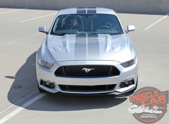 Front View of Faded Racing Stripes for 2016 Ford Mustang FADED RALLY 2015 2016 2017 Digital Print Vinyl
