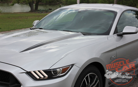 Front hood view of Faded Hood Stripes for 2016 Ford Mustangs HOOD SPEARS 2015-2017 Digital Print Vinyl