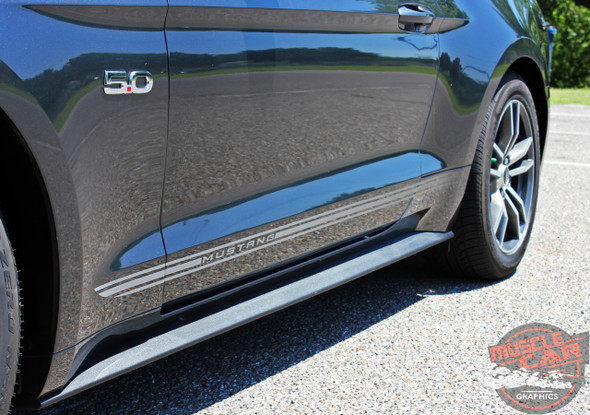 Close view of Ford Mustang Fade Tri-Line Rockers Stripes TRILINE ROCKER 2015-2018 Digital Print Vinyl