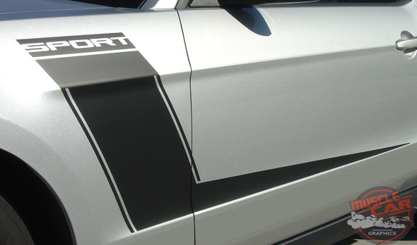 View of Ford Mustang Side and Hood Custom Decals LAUNCH 2010-2012