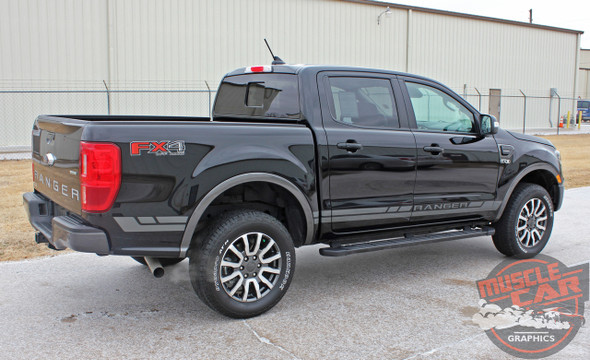 Side of 2019 2020 2021 Ford Ranger Stripes RAPID ROCKER Vinyl Graphic Decals