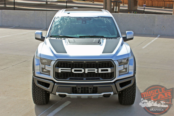 Front view of 2019 F150 Raptor Hood Decals VELOCITOR HOOD 2018-2020